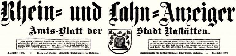 Das geschah in Nastätten vor 100 Jahren – Rhein-und Lahn-Anzeiger KW37-1921